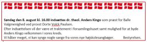 Indsættelse af Anders Kingo